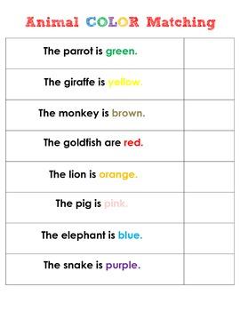 Animal Color Matching