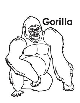 Animal Coloring Page: Gorilla