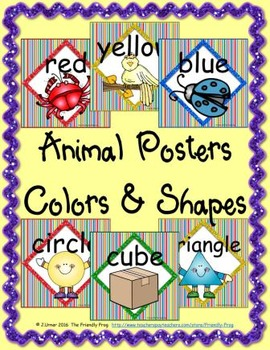 Animal Colors and Shapes Posters (square)