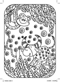 Animal Colouring postcards