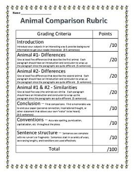 Animal Comparison Writing Rubric