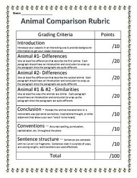 Animal Comparison Rubric - Editable