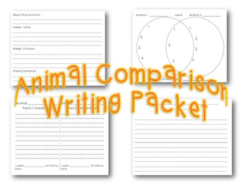 Animal Comparison Writing Packet *Common Core Aligned*