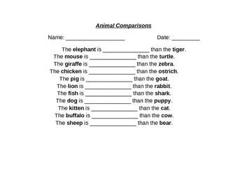 Animal Comparisons