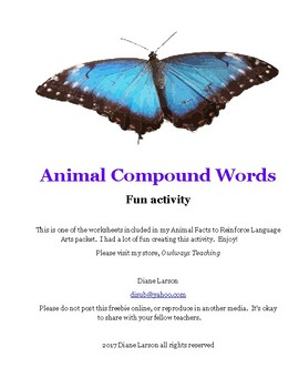 Animal Compound Words Freebie