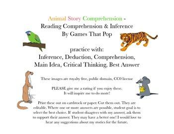 Animal Story Task Cards - 2nd, 3rd or homeschool
