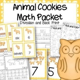 Animal Cookies Math Centers and Activities Packet D'Nealian and Block Print