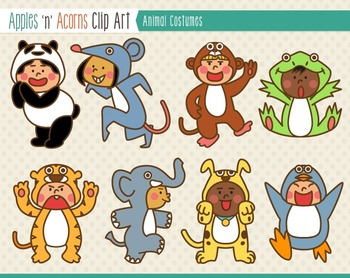 Animal Costumes Clip Art - color and outlines