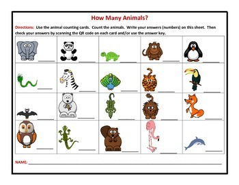 Animal Counting Cards with QR Voice Codes