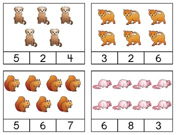 Animal Counting Clipcards for numerals and words 1-10
