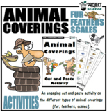 Animal Coverings [fur, feathers, scales] Cut and Paste Activity