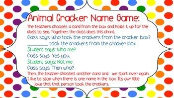 Animal Cracker Name Game