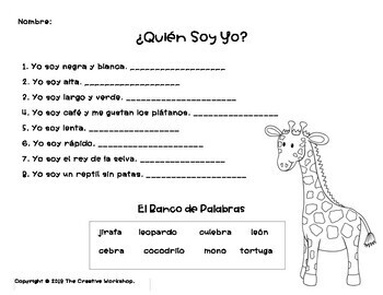 Spanish: Animal Mini Lesson with Crowns + Who Am I