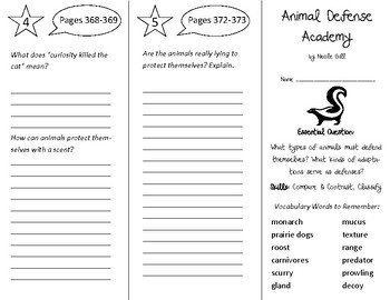 Animal Defense Academy Trifold Open Court 4th Grade Unit 4