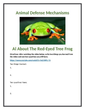 Animal Defense Webquest All About The Red Eyed Tree Frog With