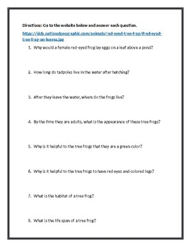Animal Defense Webquest: All About The Red-Eyed Tree Frog (With Answer Key)!