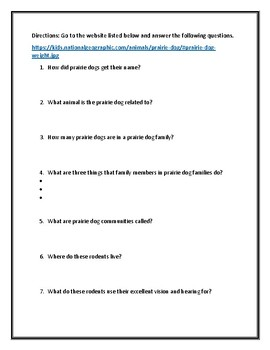 Animal Defense Webquest: All About the Prairie Dog With Answer Key!