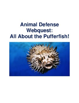 Animal Defense Webquest: All about the Pufferfish (Blowfish) With Answer Key!