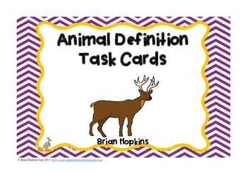 Animal Definition (Vocabulary) Task Cards