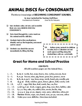 Consonant Sounds | Vocabulary | COLOR Animal DISCS |CORE K-1 | FUN Take Home