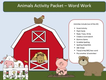 Animal Dolch Word Work Packet – 10 words, no prep spelling packet, 50+ pages