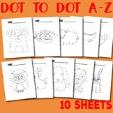 Animal Dot to Dot Alphabet A-Z Worksheets