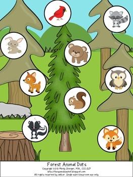 Animal Dots  - Animal Matching/Sorting Activity (jungle, farm, forest, sea)