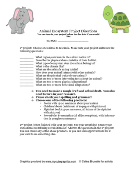 End of Year Project:  Animal Ecosystem Project Instructions and Rubrics