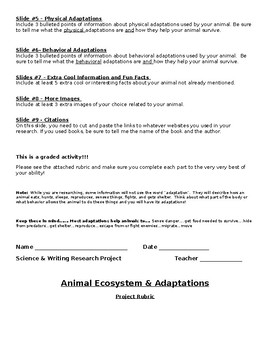 Animal Ecosystems and Adaptations Research Project