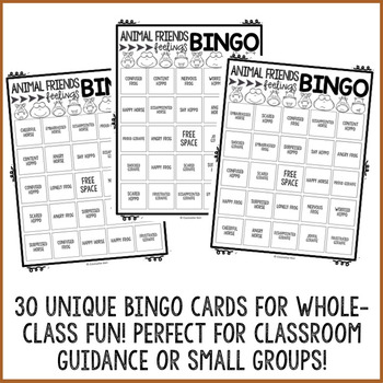 Animal Emoji Feelings Bingo Game - Emotions - Elementary School Counseling
