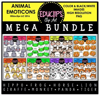 Animal Emoticons Clip Art Mega Bundle  {Educlips Clipart}