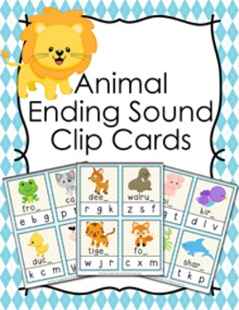 Animal Ending Sounds Clip Cards