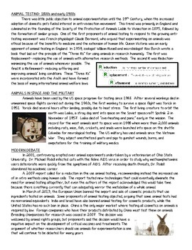 Animal Experimentation Informational Text Reading Comprehension