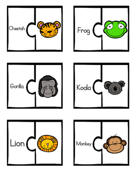 Animal Face Vocabulary Match-Up Puzzles