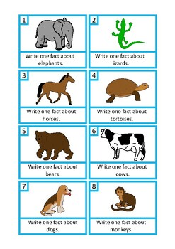 Animal Facts Writing Prompts, Autism & Special Education, Speech Therapy