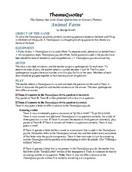 Animal Farm Trivia Game: 240 Questions—Not Your Typical Trivia Game!