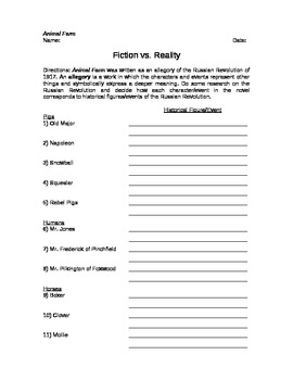 Animal Farm Allegory Worksheet