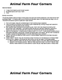 Animal Farm Anticipation Guide/Four Corners Activity