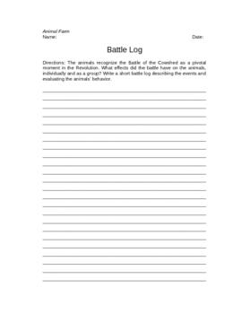 Animal Farm Battle Log Writing Assignment