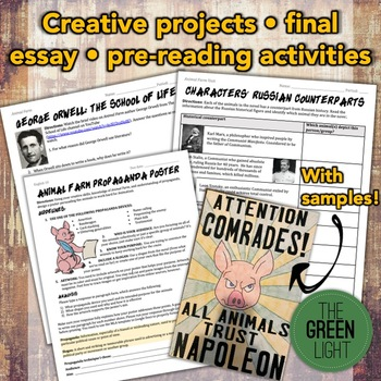Animal Farm Bundle: Activities, Essays, Projects, Task Cards