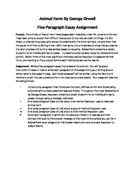 Animal Farm By George Orwell Academic Essay Assignment And Plan Tpt