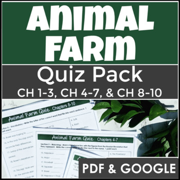 Animal Farm Quiz Pack with Answer Keys and Three Comprehensive Quizzes!