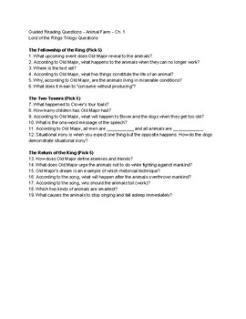 Animal Farm Ch. 1 Guided Reading Questions