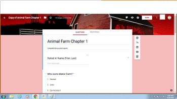Animal Farm - Chapter 1 Google Form Quiz
