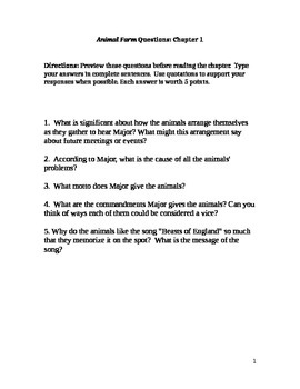 Animal Farm Chapter 1 Questions