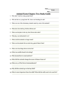 animal farm chapter 2 study guide answers by teen conections tpt rh teacherspayteachers com study guide for animal farm by george orwell answers study guide for animal farm answers
