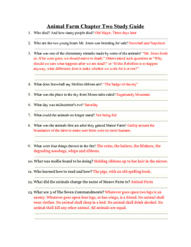 animal farm chapter 2 study guide answers by teen conections tpt rh teacherspayteachers com chapter 2 principles of ecology study guide answer key chapter 2 study guide answers night