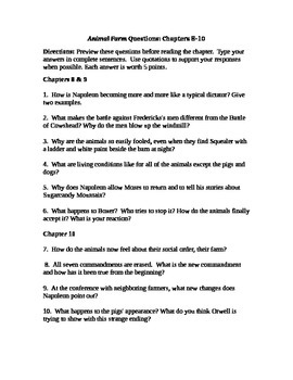 Animal Farm Chapter 8-10 Study Questions