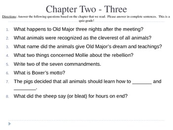 Animal Farm Chapter Check Quizzes PPT