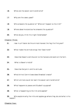 Animal Farm - Chapter Comprehension Question Booklet